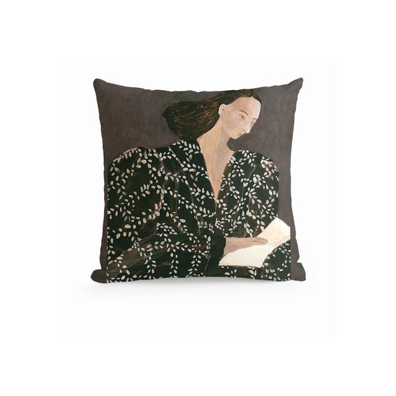 Glitch Art's Portrait Throw Pillow e