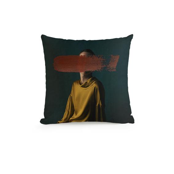 Glitch Art's Portrait Throw Pillow c