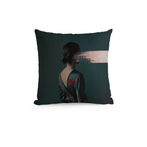 Glitch Art's Portrait Throw Pillow b