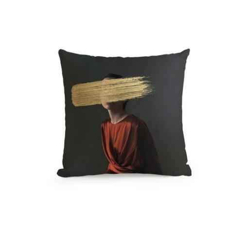 Glitch Art's Portrait Throw Pillow